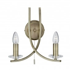 Ascona - 2 Light Wall Bracket, Antique Brass Twist Frame With Clear Glass Sconces