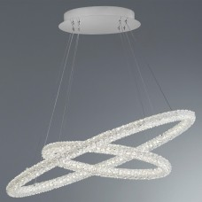 Circle Led 2 Oval Ring Ceiling Pendant, Chrome, Clear Crystal