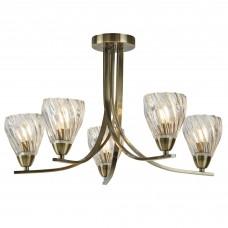 Ascona Ii - 5 Light Ceiling Semi Flush, Antique Brass Twist Frame, Clear Twisted Glass Shades