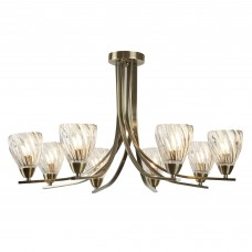 Ascona Ii - 8 Light Ceiling Semi Flush, Antique Brass Twist Frame, Clear Twisted Glass Shades