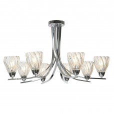 Ascona Ii - 8 Light Ceiling Semi Flush, Chrome Twist Frame, Clear Twisted Glass Shades