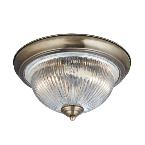 American Diner 2 Light Ip44 Ceiling Flush Antique Br