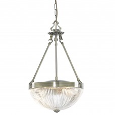 Windsor Ii - 2 Light Pendant, Antique Brass, Clear Ribbed Glass