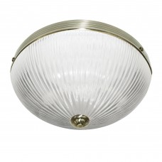Windsor Ii - 2 Light Ceiling Flush, Antique Brass, Clear Ribbed Glass