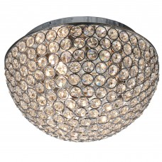 Chantilly - 3 Light Dome Ceiling Flush, Chrome With Clear Crystal Buttons Inserts - Dia 25Cm