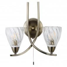 Ascona Ii - 2 Light Wall Bracket, Antique Brass Twist Frame , Clear Twisted Glass Shades