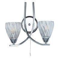 Ascona Ii - 2 Light Wall Bracket, Chrome Twist Frame , Clear Twist Glass Shades