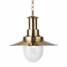 Fisherman Pendant - 1 Light Large Pendant, Antique Brass With Seeded Glass