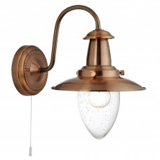 Fisherman Copper Wall Light With Seeded Glass Shade