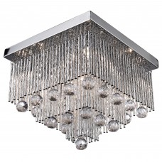 Beatrix - 5 Light Square Ceiling Flush, Chrome With Twist Tubes And Clear Crystal Ball Drops