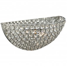 Chantilly - 2 Light Wall Bracket, Chrome With Clear Crystal Buttons Inserts