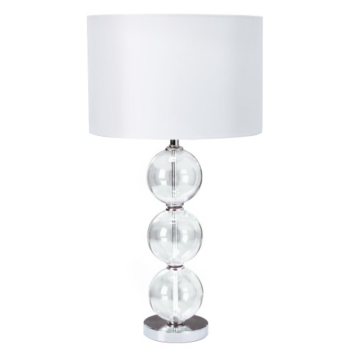 Table Lamp Single Clear Glass Ball Stacked Base White Shade