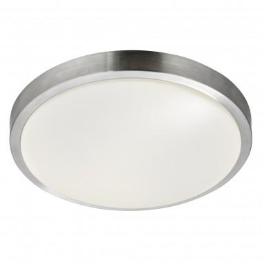 Led Bathroom - Ip44 1 Light Flush, Aluminium Trim With Acrylic White Shade, Dia 33Cm
