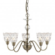 Monarch - 5 Light Ceiling, Antique Brass, Clear Glass