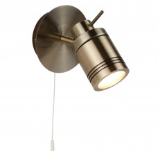 Samson 1 Light Ip44 Bathroom Spot Wall Bracket, Antique Brass