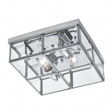 Flush - 2 Light Flush Box, Chrome With Clear Bevelled Glass Panels