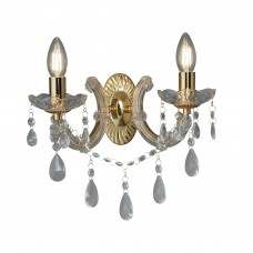 Marie Therese - 2 Light Wall Bracket, Polished Brass, Clear Crystal Glass