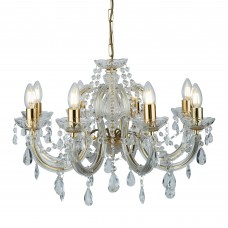 Marie Therese - 8 Light Ceiling, Polished Brass, Clear Crystal Glass
