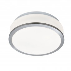 Discs Bathroom - Ip44 2 Light Flush, Opal White Glass Shade, Satin Silver Trim Dia 23Cm