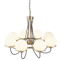 Sphere 8 Light Ceiling, Antique Brass, Black Braided Cable, Opal White Glass Shades