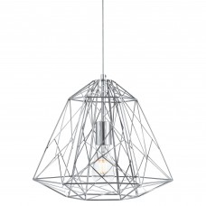 Geometric Cage 1 Light Frame Pendant, Chrome