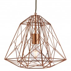 Geometric Cage 1 Light Frame Pendant, Shiny Copper
