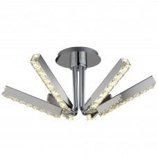 Clover - 6 Light Led Ceiling S/Flush, Clear Crystal, Chrome