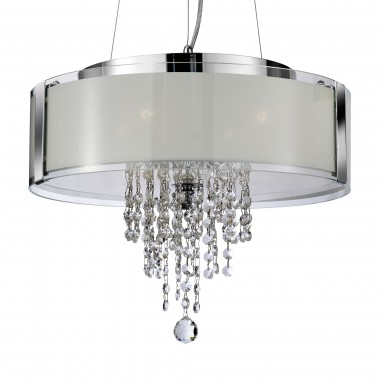 Orion - 4 Light Pendant, Chrome With Frosted Glass And Clear Crystal Buttons & Drops