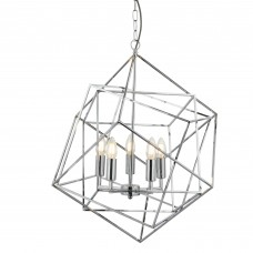 Cube 5 Light Pendant, Geometric Cube Frame, Chrome