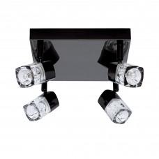 Blocs - 4 Light Spotlight Square, Black Chrome, Clear Glass (Ice Cube)