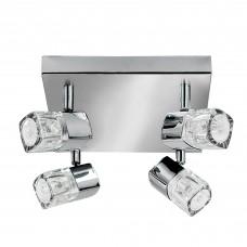 Blocs - 4 Light Spotlight Square, Chrome, Clear Glass (Ice Cube)
