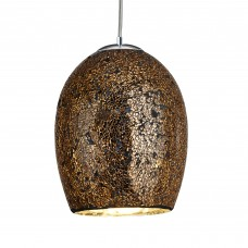 Crackle - 1 Light Pendant, Bronze Mosaic Glass & Satin Silver Suspension