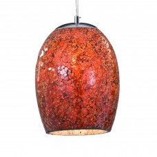 Crackle - 1 Light Pendant, Red Mosaic Glass & Satin Silver Suspension