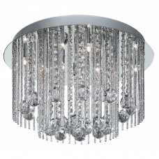 Beatrix - 8 Light Ceiling Flush, Chrome With Twist Tubes And Clear Crystal Ball Drops