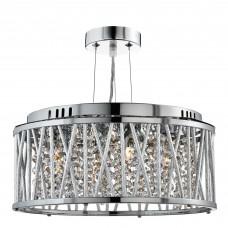 Elise 3 Light Ceiling Flush/Pendant, Chrome, Clear Crystal Button Drops, Aluminium Tubes Trim