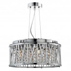 Elise 4 Light Ceiling Pendant, Chrome, Clear Crystal Button Drops, Aluminium Tubes Trim