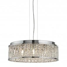 Elise 7 Light Ceiling Flush/Pendant, Chrome, Clear Crystal Drops, Aluminium Tubes Trim