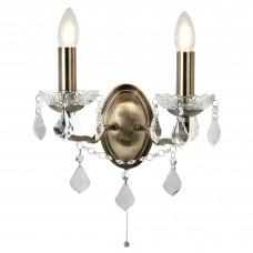 Paris 2 Light Wall Bracket, Clear Crystal Drops & Trim, Antique Brass