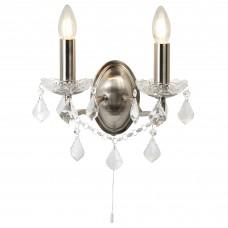Paris 2 Light Wall Bracket, Clear Crystal Drops & Trim, Satin Silver