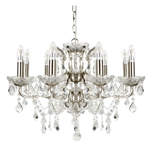 Paris 8 light chandelier clear crystal drops trim satin silver aloadofball Gallery