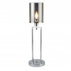 Catalina 1 Light Table Lamp, Chrome, Smoked Glass Shades