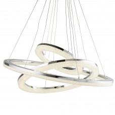 Circle Led 3 Ring Ceiling Pendant, Chrome, Crushed Ice