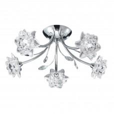 Bellis - 5 Light Ceiling Semi-Flush, Chrome, Clear Flower Glass