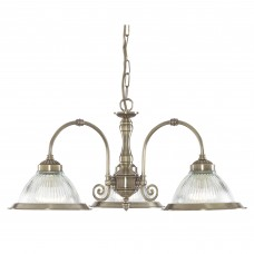 American Diner - 3 Light Ceiling, Antique Brass, Clear Glass