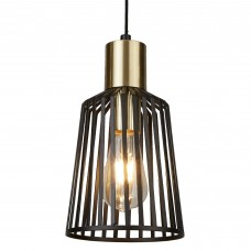 Bird Cage 1 Light Pendant, Black And Gold