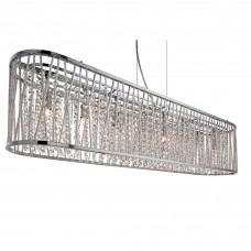 Elise 8 Light Oval Ceiling, Aluminium Tubes Trim, Chrome, Clear Crystal Drops