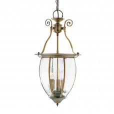 Lantern Bowed Bevelled Glass 3 Light Antique Brass