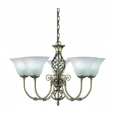 Cameroon 5 Light Antique Brass Fitting Cw Marble Glass