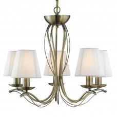 Andretti - 5 Light Ceiling, Antique Brass, Cream String Shades