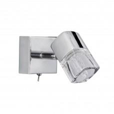 Blocs - 1 Light Spotlight Wall Bracketracket, Chrome, Clear Glass (Ice Cube)